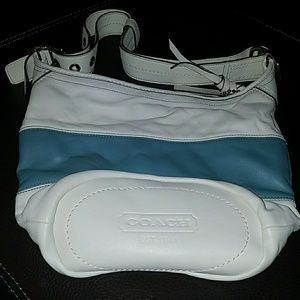 Coach bag - baby blue and white